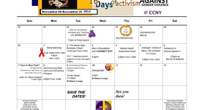2014 16 Days Calendar